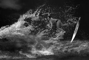 SPC Bronze Medal - Yanping Qiu (Hong Kong)  Surfing Game Bw